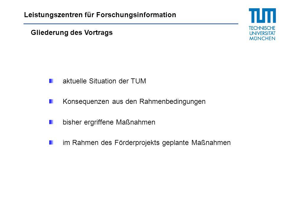 Gliederung des Vortrags aktuelle Situation der TUM Konsequenzen aus den Rahmenbedingungen bisher ergriffene Maßnahmen im Rahmen des Förderprojekts gep