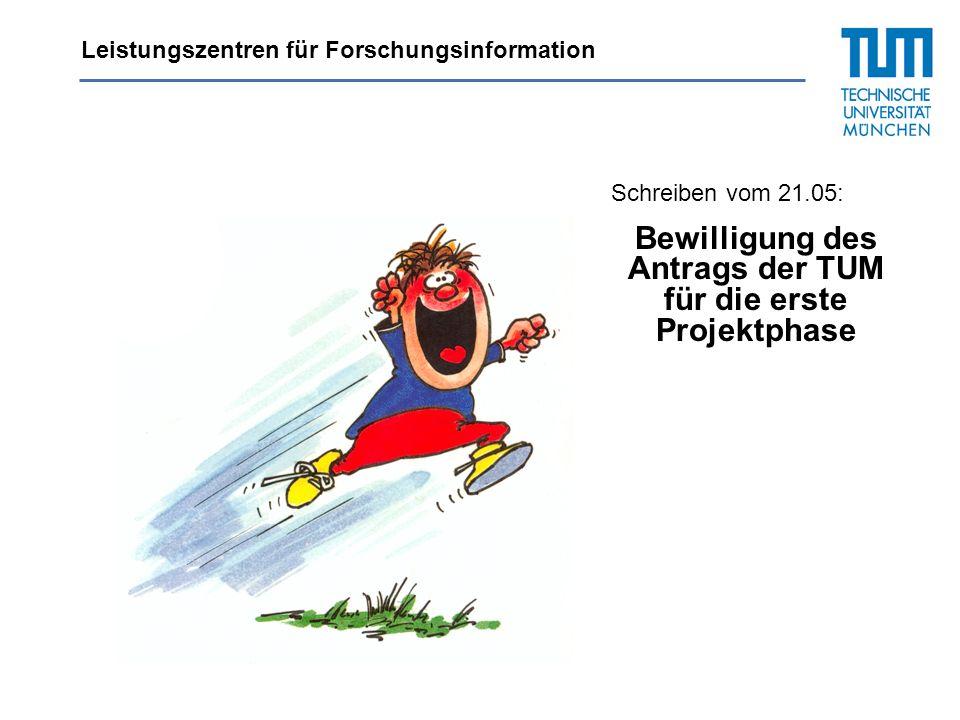 Leistungszentren für Forschungsinformation Schreiben vom 21.05: Bewilligung des Antrags der TUM für die erste Projektphase