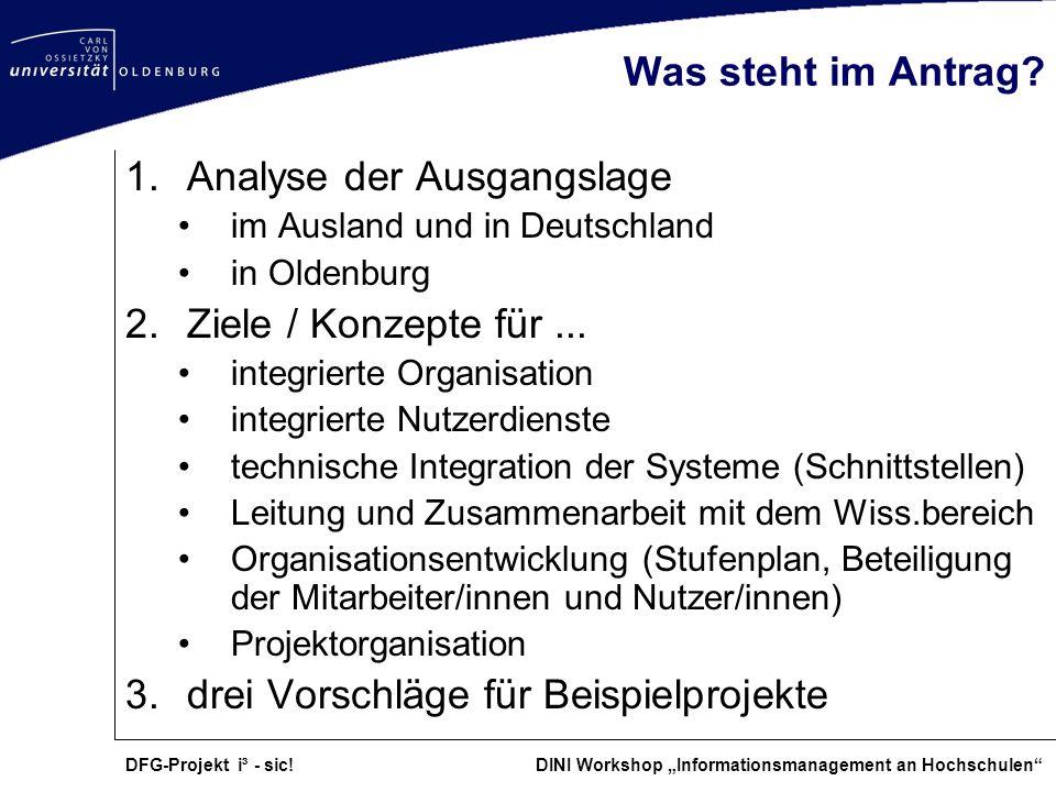DFG-Projekt i³ - sic! DINI Workshop Informationsmanagement an Hochschulen Was steht im Antrag? 1.Analyse der Ausgangslage im Ausland und in Deutschlan