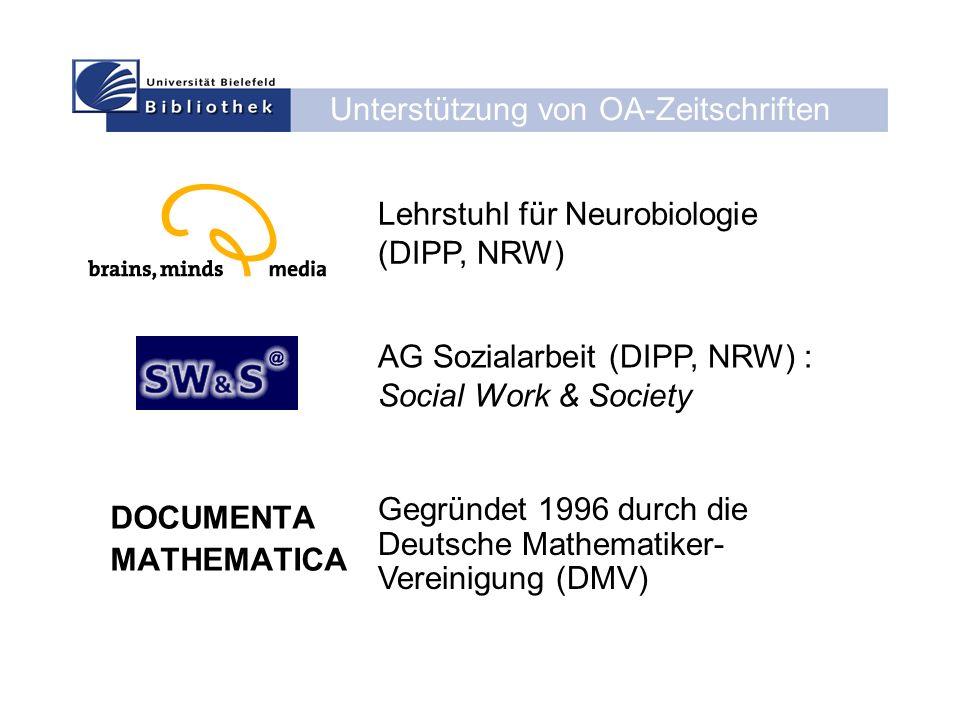 Unterstützung von OA-Zeitschriften DOCUMENTA MATHEMATICA Lehrstuhl für Neurobiologie (DIPP, NRW) AG Sozialarbeit (DIPP, NRW) : Social Work & Society Gegründet 1996 durch die Deutsche Mathematiker- Vereinigung (DMV)