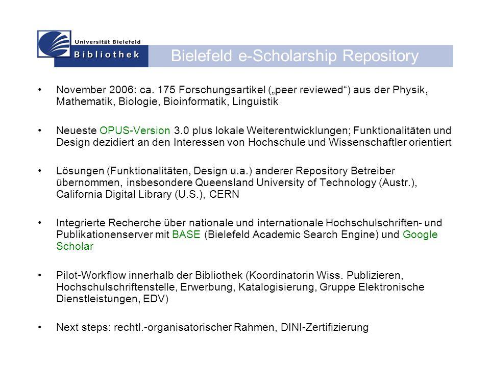 Bielefeld e-Scholarship Repository November 2006: ca.