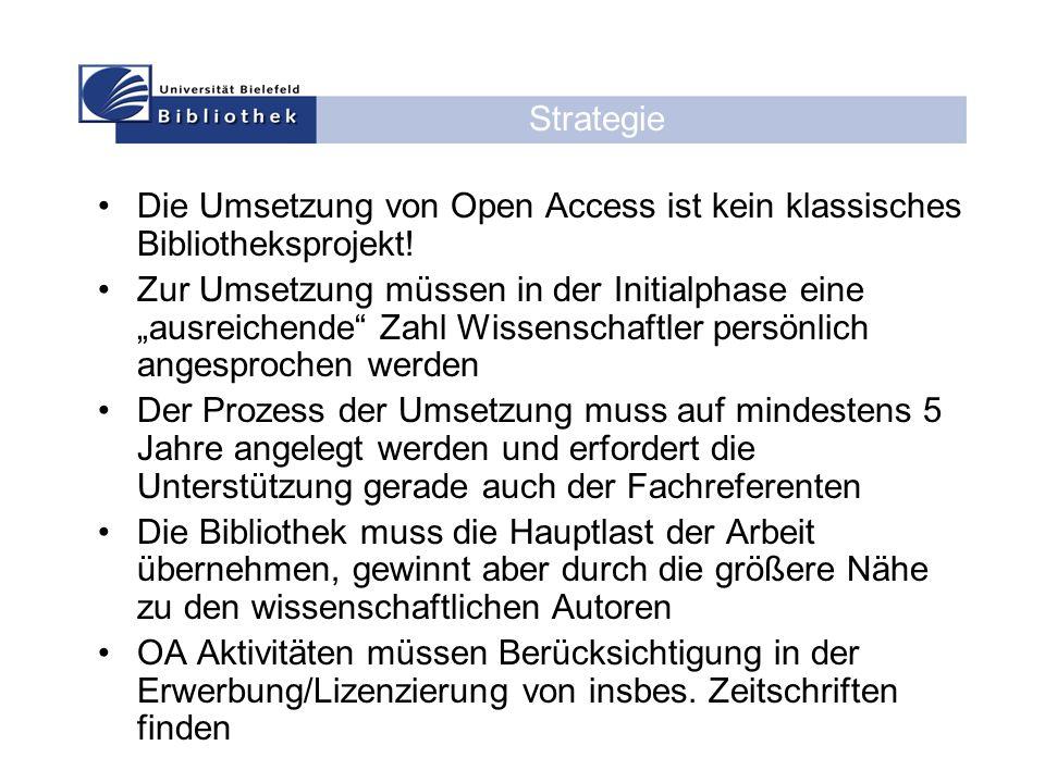Die Umsetzung von Open Access ist kein klassisches Bibliotheksprojekt.