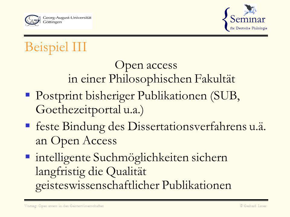 Vortrag: Open access in den Geisteswissenschaften © Gerhard Lauer { Seminar für Deutsche Philologie { ??