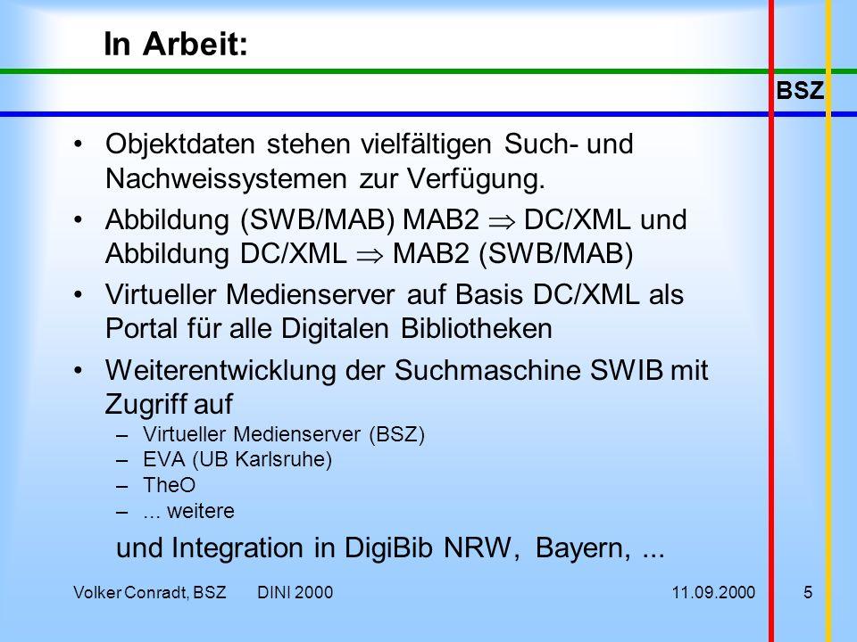 BSZ 11.09.2000Volker Conradt, BSZ DINI 20005 In Arbeit: Objektdaten stehen vielfältigen Such- und Nachweissystemen zur Verfügung.