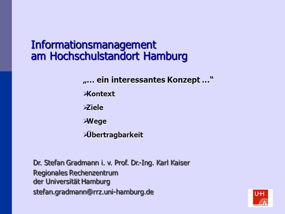 Informationsmanagement am Hochschulstandort Hamburg … ein interessantes Konzept … Kontext Kontext Ziele Ziele Wege Wege Übertragbarkeit Übertragbarkei