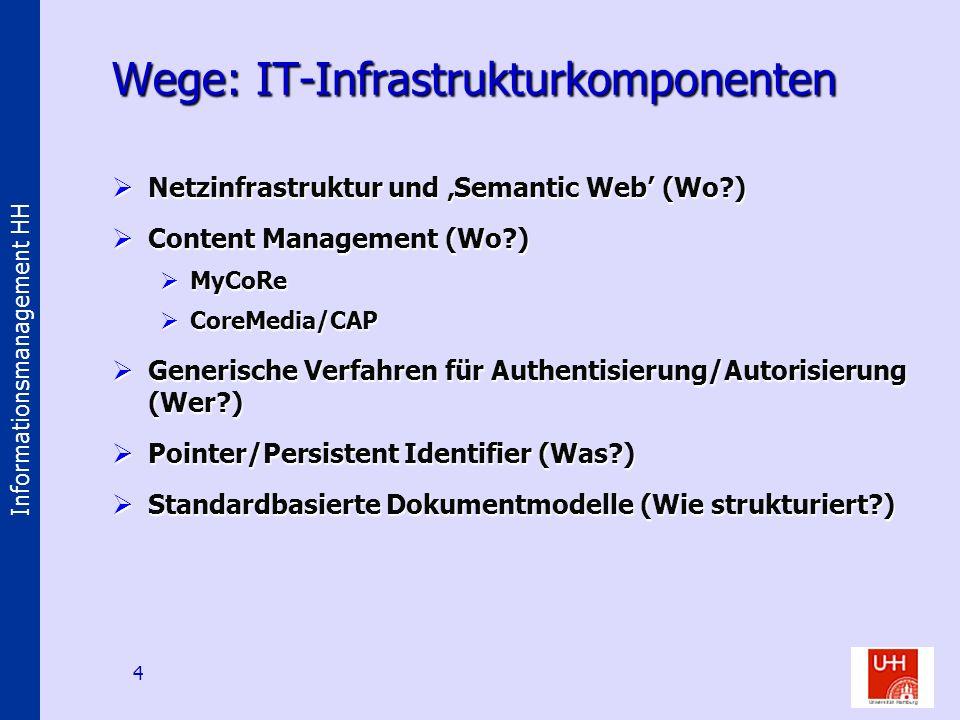 Informationsmanagement HH 4 Wege: IT-Infrastrukturkomponenten Netzinfrastruktur und Semantic Web (Wo?) Netzinfrastruktur und Semantic Web (Wo?) Conten