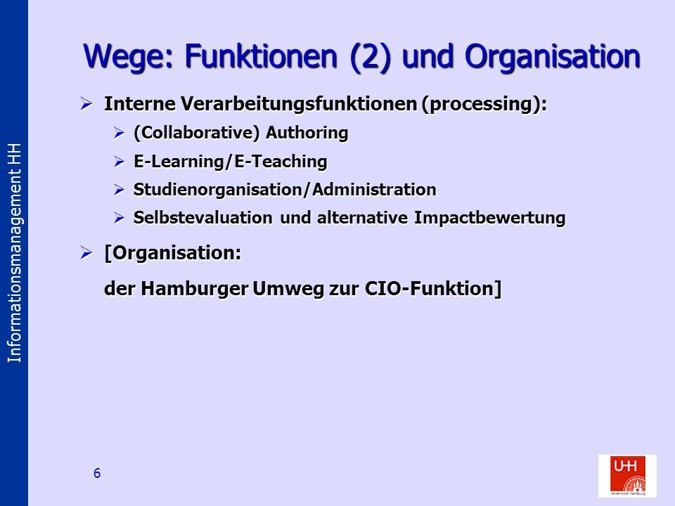 Informationsmanagement HH 6 Wege: Funktionen (2) und Organisation Interne Verarbeitungsfunktionen (processing): Interne Verarbeitungsfunktionen (proce