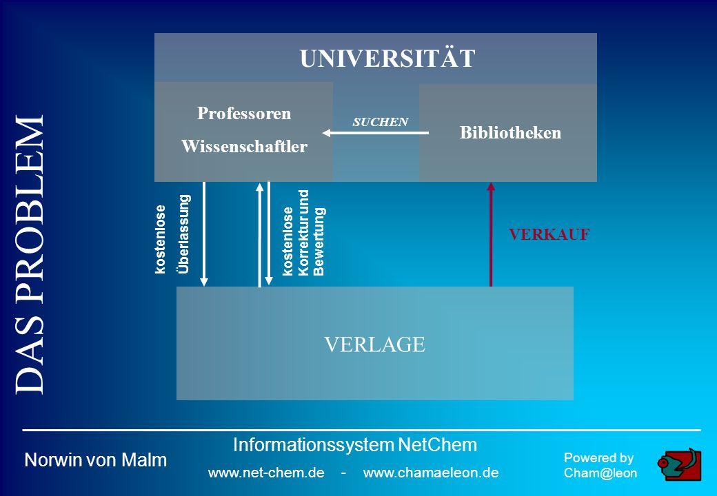 Powered by Cham@leon Norwin von Malm Informationssystem NetChem www.net-chem.de - www.chamaeleon.de VERLAGE kostenlose Überlassung kostenlose Korrektur und Bewertung VERKAUF UNIVERSITÄT Professoren Wissenschaftler Bibliotheken SUCHEN DAS PROBLEM