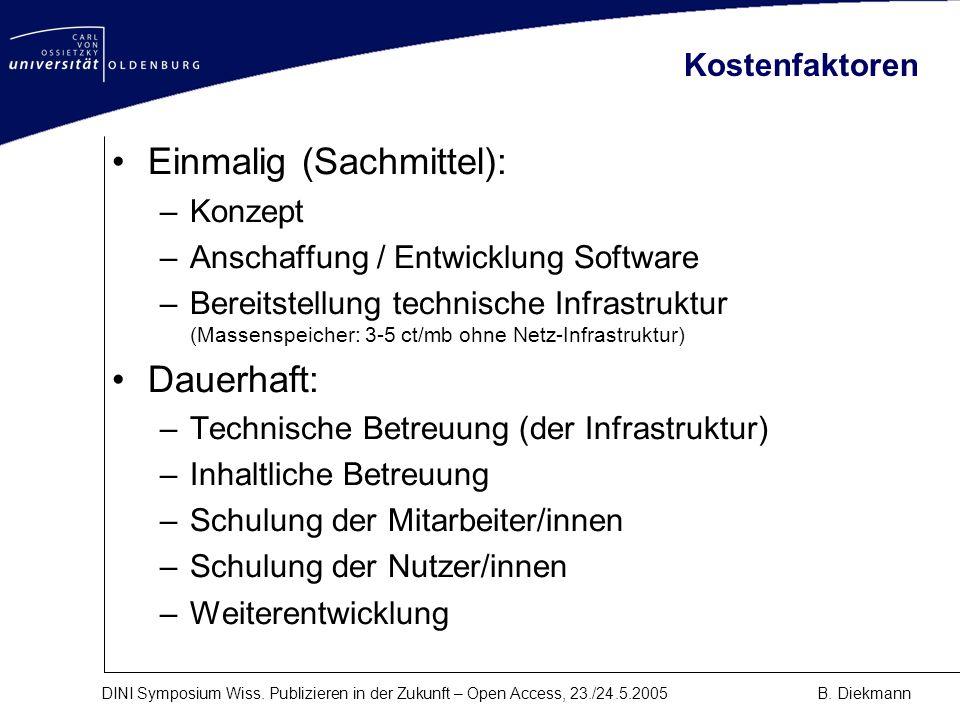 DINI Symposium Wiss. Publizieren in der Zukunft – Open Access, 23./24.5.2005B. Diekmann Kostenfaktoren Einmalig (Sachmittel): –Konzept –Anschaffung /