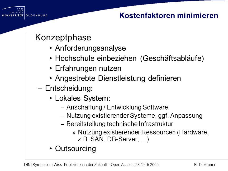 DINI Symposium Wiss. Publizieren in der Zukunft – Open Access, 23./24.5.2005B. Diekmann Kostenfaktoren minimieren Konzeptphase Anforderungsanalyse Hoc