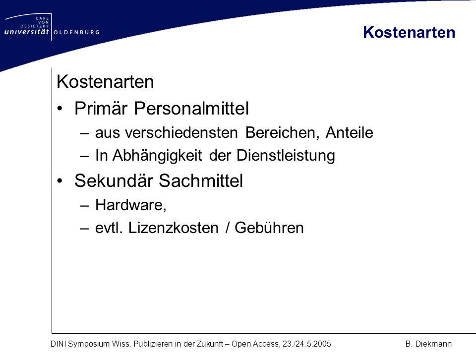 DINI Symposium Wiss. Publizieren in der Zukunft – Open Access, 23./24.5.2005B. Diekmann Kostenarten Primär Personalmittel –aus verschiedensten Bereich