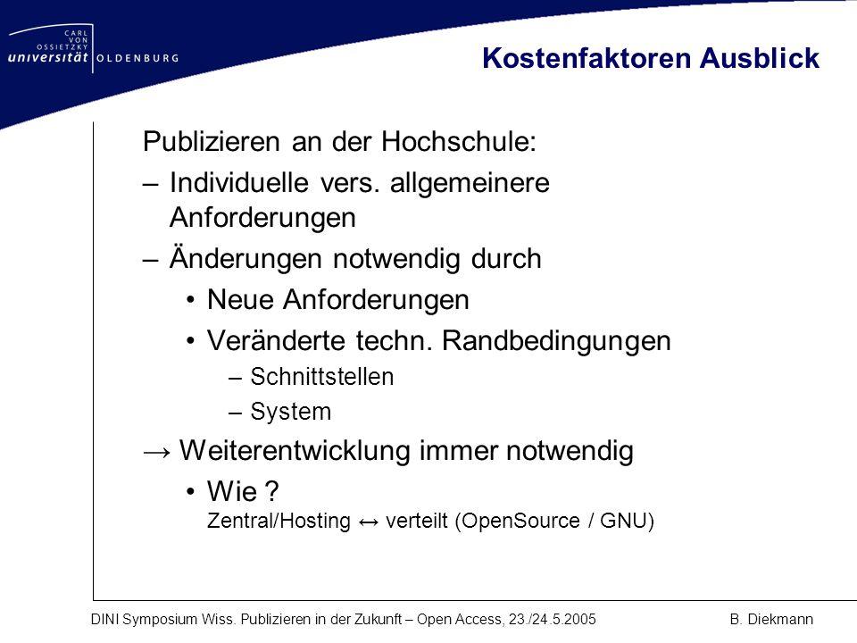 DINI Symposium Wiss. Publizieren in der Zukunft – Open Access, 23./24.5.2005B. Diekmann Kostenfaktoren Ausblick Publizieren an der Hochschule: –Indivi