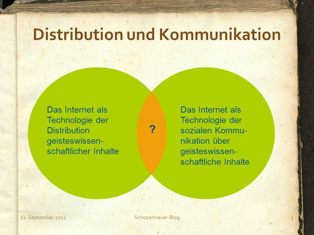 21. September 2011Schopenhauer-Blog3 Distribution und Kommunikation Das Internet als Technologie der Distribution geisteswissen- schaftlicher Inhalte