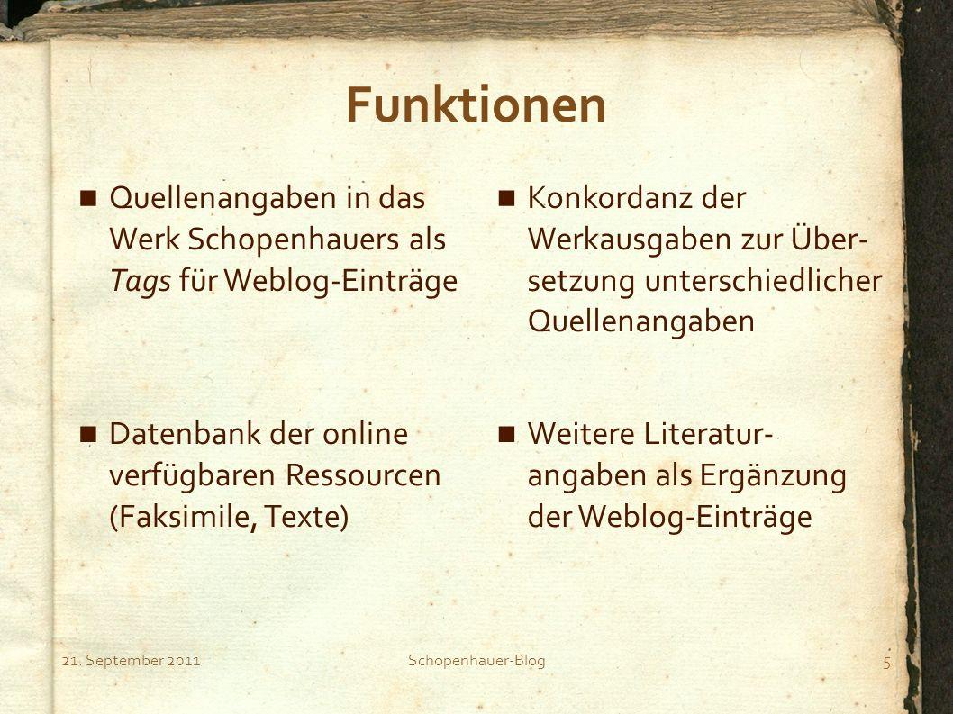 21. September 2011Schopenhauer-Blog5 Funktionen Quellenangaben in das Werk Schopenhauers als Tags für Weblog-Einträge Konkordanz der Werkausgaben zur