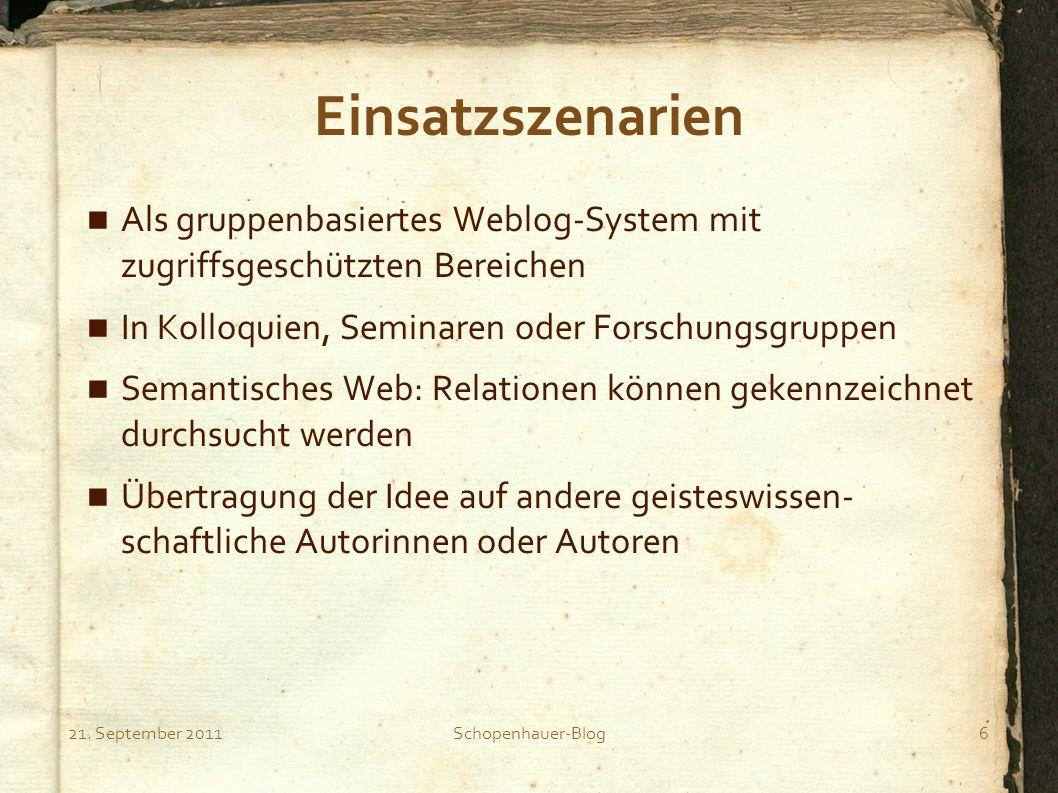21. September 2011Schopenhauer-Blog6 Einsatzszenarien Als gruppenbasiertes Weblog-System mit zugriffsgeschützten Bereichen In Kolloquien, Seminaren od