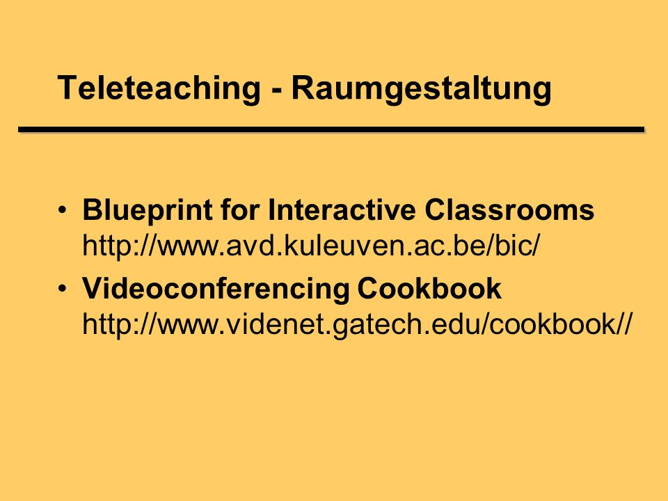 Blueprint for Interactive Classrooms   Videoconferencing Cookbook