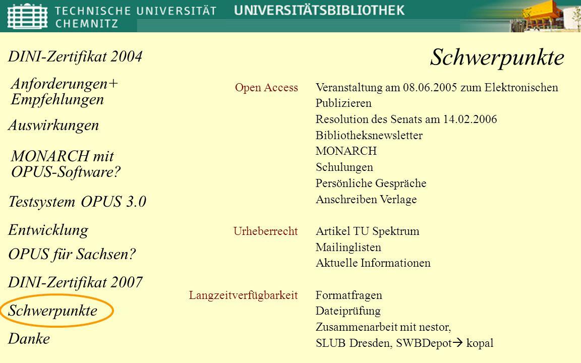 Auswirkungen Anforderungen+ Empfehlungen OPUS für Sachsen? Danke DINI-Zertifikat 2004 MONARCH mit OPUS-Software? Entwicklung Testsystem OPUS 3.0 DINI-