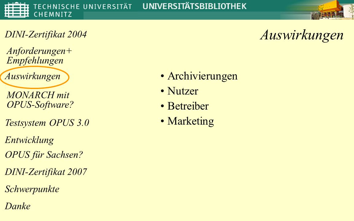 Anforderungen+ Empfehlungen OPUS für Sachsen.Danke DINI-Zertifikat 2004 MONARCH mit OPUS-Software.
