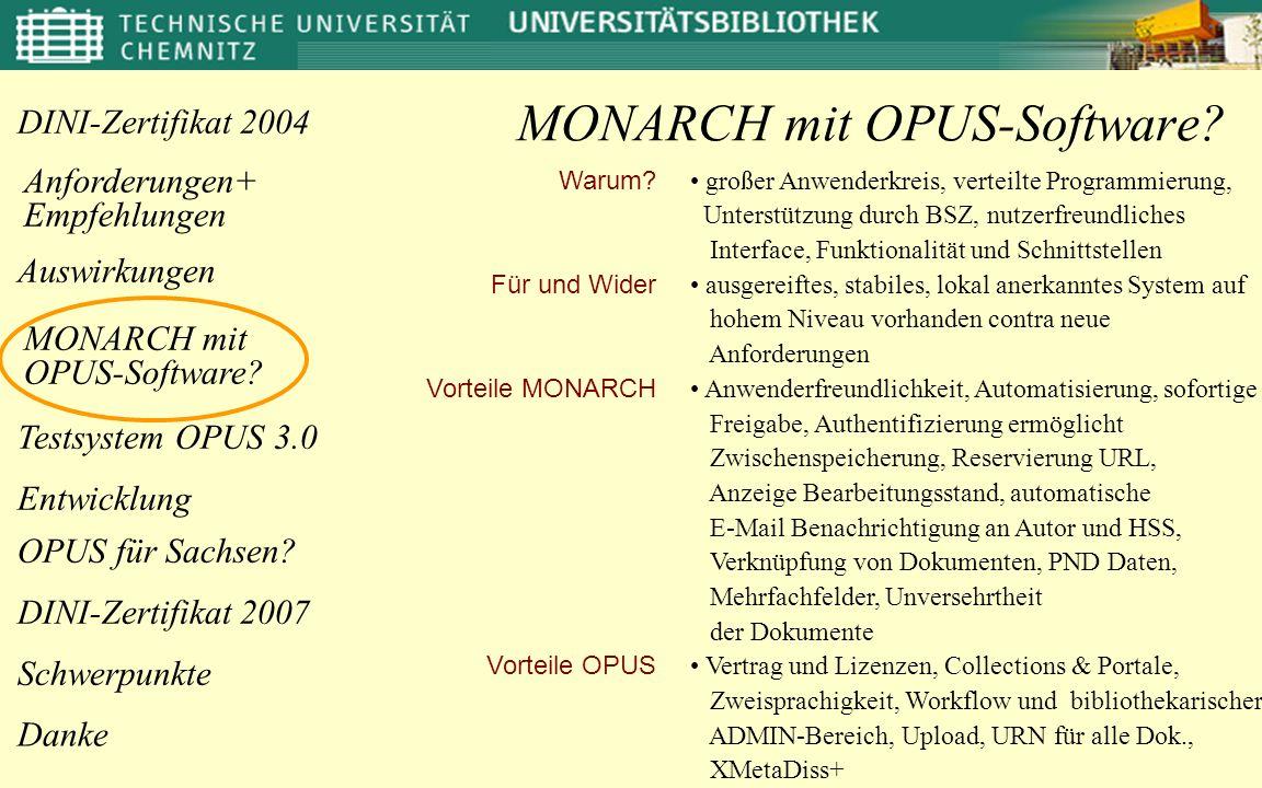 Anforderungen+ Empfehlungen OPUS für Sachsen? Danke DINI-Zertifikat 2004 MONARCH mit OPUS-Software? Entwicklung Testsystem OPUS 3.0 DINI-Zertifikat 20
