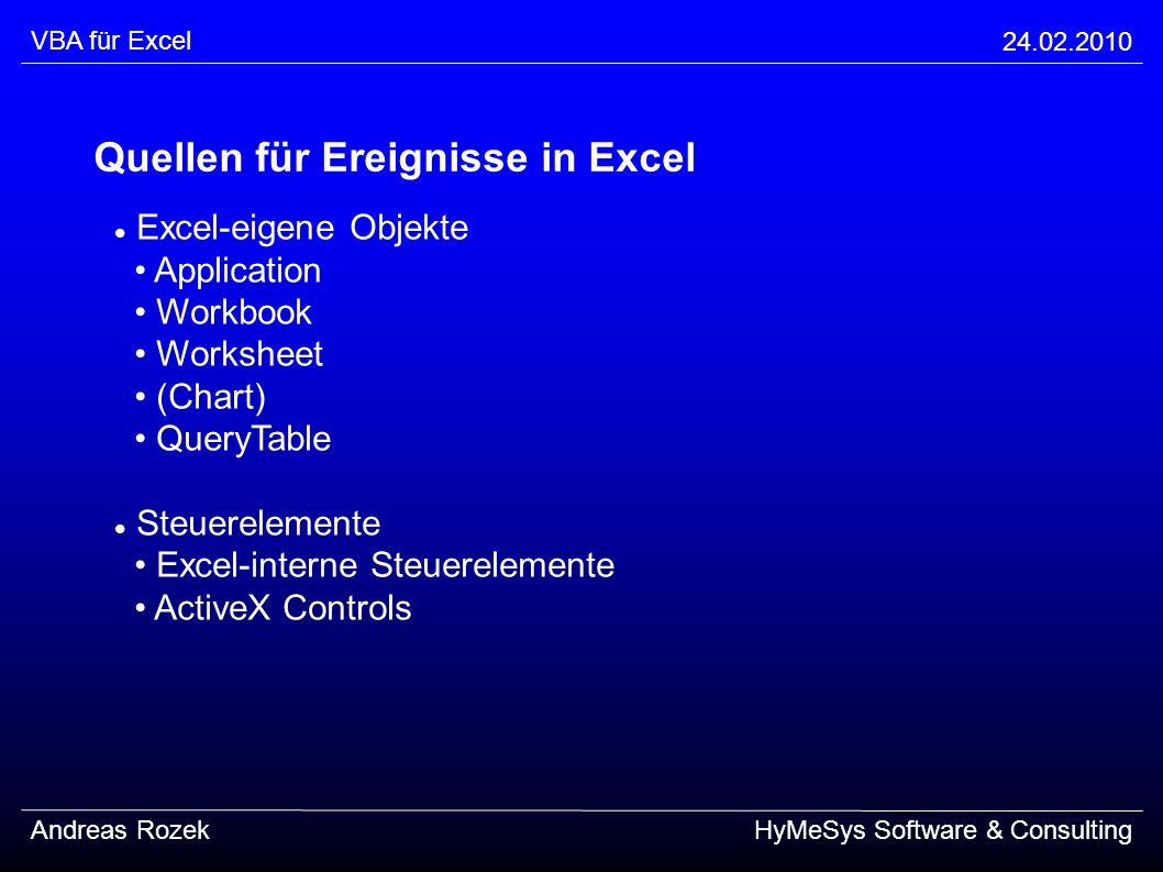 VBA für Excel 24.02.2010 Andreas RozekHyMeSys Software & Consulting Quellen für Ereignisse in Excel Excel-eigene Objekte Application Workbook Workshee