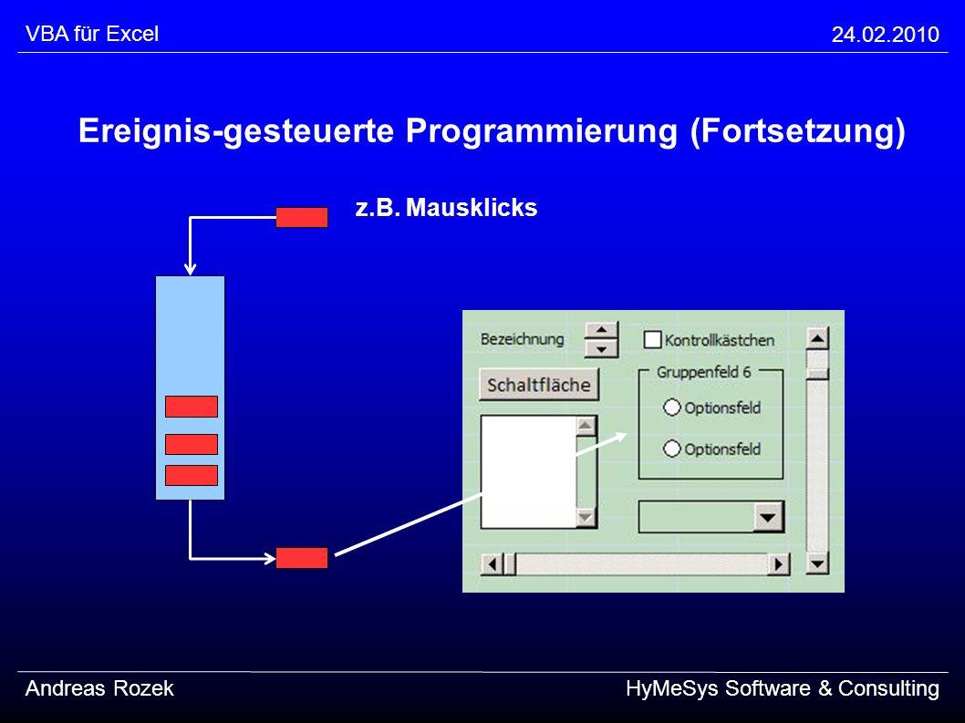 VBA für Excel 24.02.2010 Andreas RozekHyMeSys Software & Consulting Ereignis-gesteuerte Programmierung (Fortsetzung) z.B. Mausklicks