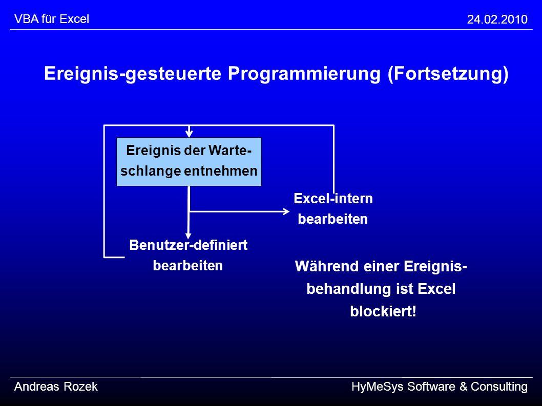 VBA für Excel 24.02.2010 Andreas RozekHyMeSys Software & Consulting Ereignis-gesteuerte Programmierung (Fortsetzung) Benutzer-definiert bearbeiten Exc