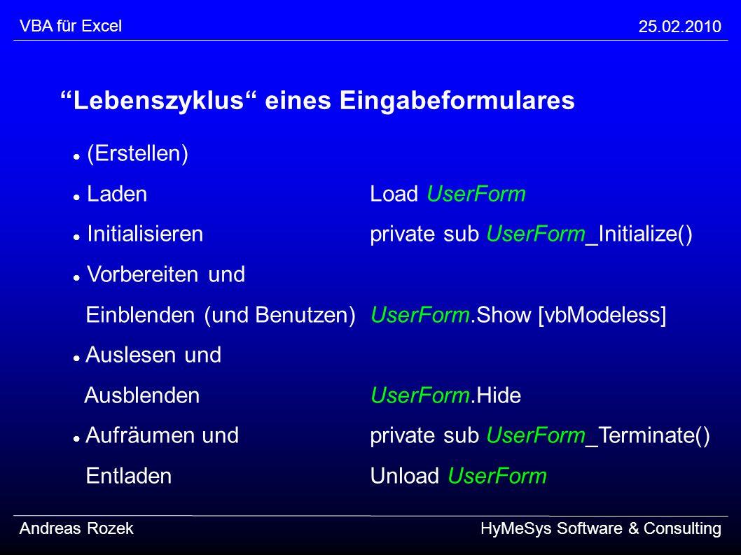 VBA für Excel 25.02.2010 Andreas RozekHyMeSys Software & Consulting Lebenszyklus eines Eingabeformulares (Erstellen) LadenLoad UserForm Initialisieren