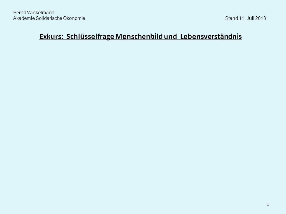 Exkurs: Schlüsselfrage Menschenbild und Lebensverständnis 1 Bernd Winkelmann Akademie Solidarische Ökonomie Stand 11. Juli 2013