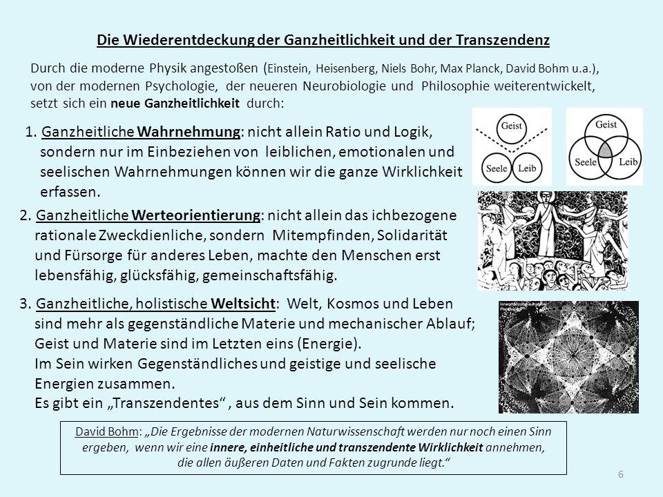 6 Die Wiederentdeckung der Ganzheitlichkeit und der Transzendenz Durch die moderne Physik angestoßen ( Einstein, Heisenberg, Niels Bohr, Max Planck, D