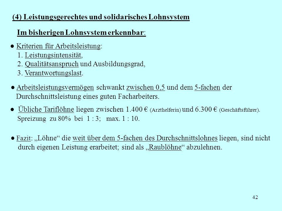42 (4) Leistungsgerechtes und solidarisches Lohnsystem Kriterien für Arbeitsleistung: 1. Leistungsintensität, 2. Qualitätsanspruch und Ausbildungsgrad