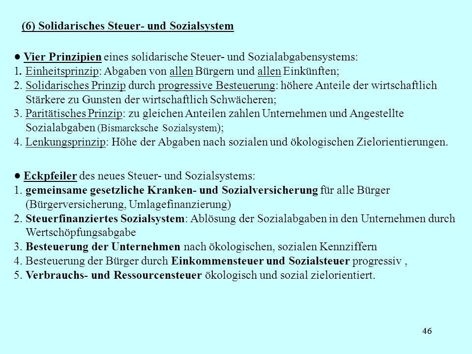 46 (6) Solidarisches Steuer- und Sozialsystem Vier Prinzipien eines solidarische Steuer- und Sozialabgabensystems: 1. Einheitsprinzip: Abgaben von all