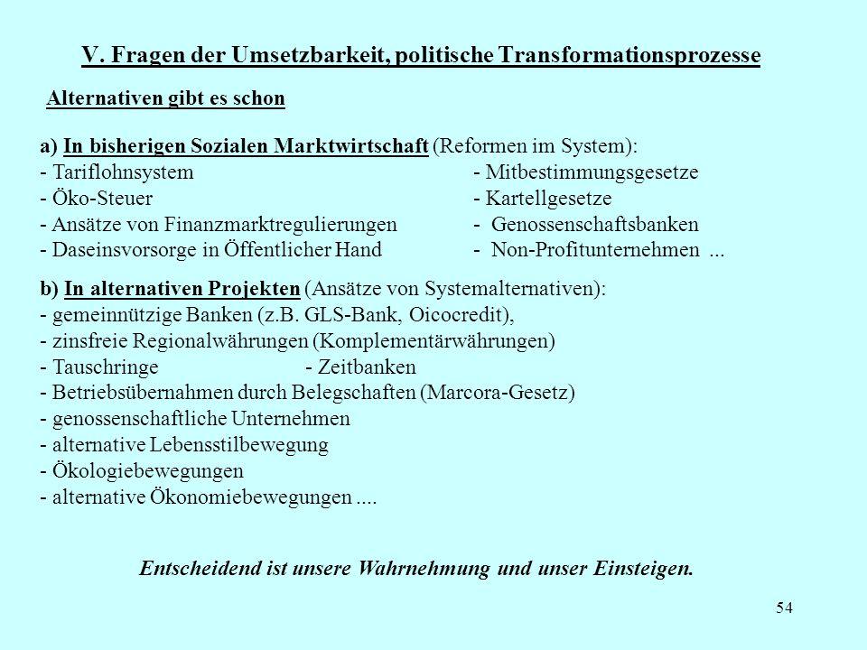 54 V. Fragen der Umsetzbarkeit, politische Transformationsprozesse a) In bisherigen Sozialen Marktwirtschaft (Reformen im System): - Tariflohnsystem -