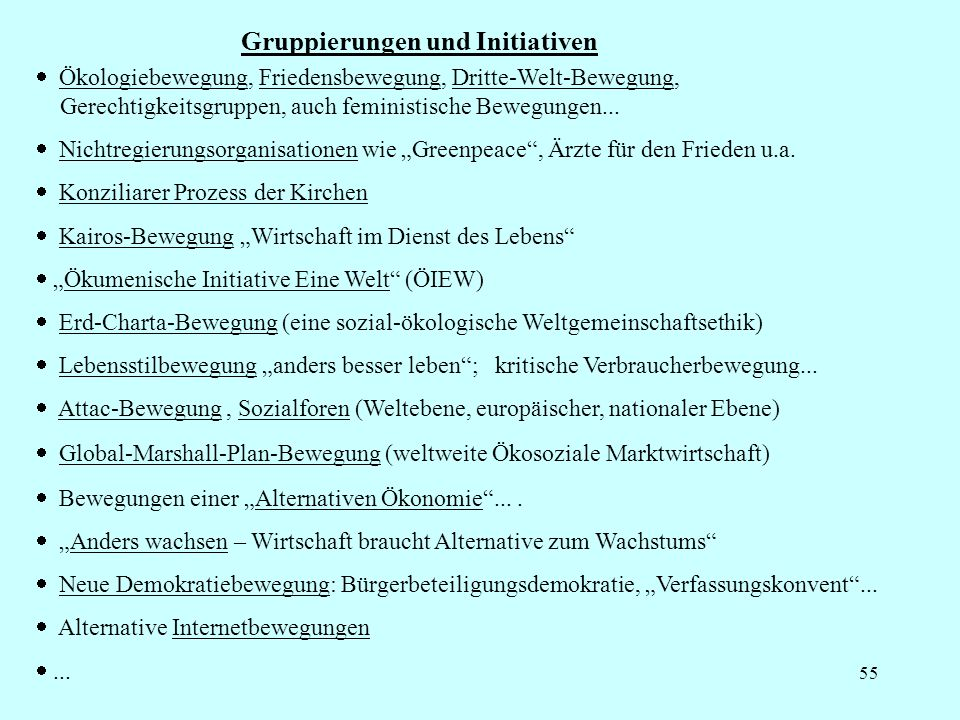 55 Gruppierungen und Initiativen Ökologiebewegung, Friedensbewegung, Dritte-Welt-Bewegung, Gerechtigkeitsgruppen, auch feministische Bewegungen... Nic