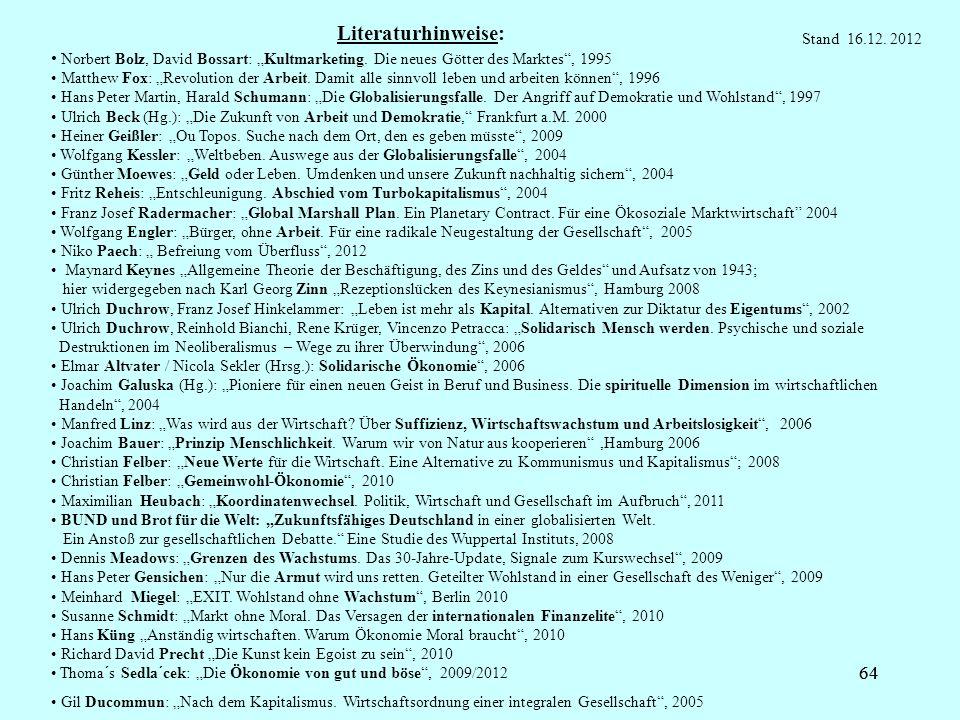 64 Literaturhinweise: Norbert Bolz, David Bossart: Kultmarketing. Die neues Götter des Marktes, 1995 Matthew Fox: Revolution der Arbeit. Damit alle si