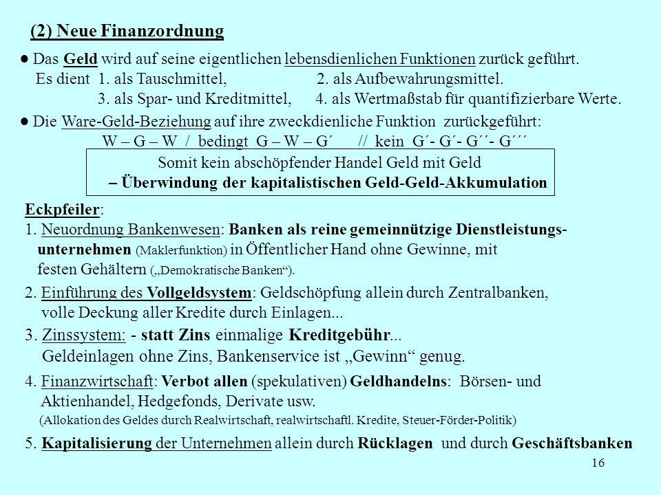 16 (2) Neue Finanzordnung Das Geld wird auf seine eigentlichen lebensdienlichen Funktionen zurück geführt. Es dient 1. als Tauschmittel, 2. als Aufbew