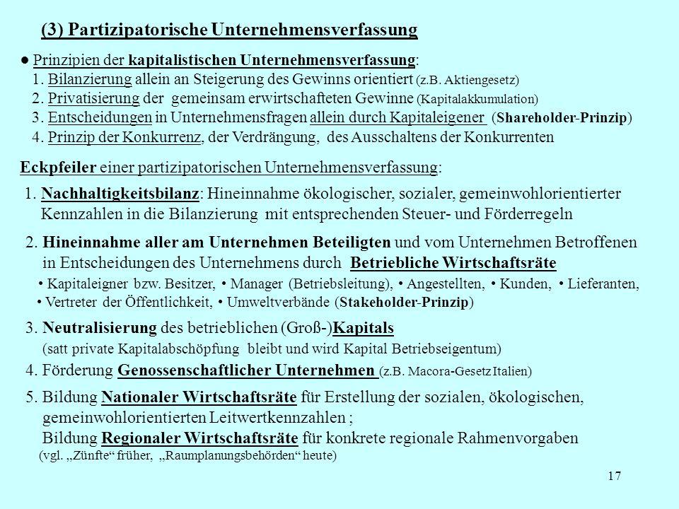 17 (3) Partizipatorische Unternehmensverfassung Prinzipien der kapitalistischen Unternehmensverfassung: 1. Bilanzierung allein an Steigerung des Gewin