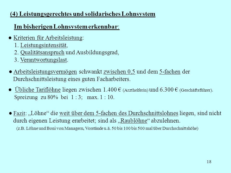 18 (4) Leistungsgerechtes und solidarisches Lohnsystem Kriterien für Arbeitsleistung: 1. Leistungsintensität, 2. Qualitätsanspruch und Ausbildungsgrad