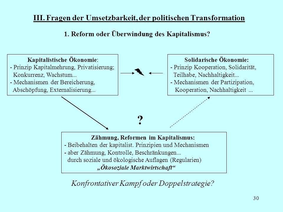 30 III. Fragen der Umsetzbarkeit, der politischen Transformation Kapitalistische Ökonomie: - Prinzip Kapitalmehrung, Privatisierung; Konkurrenz, Wachs