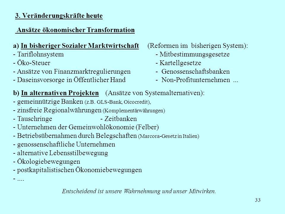33 3. Veränderungskräfte heute a) In bisheriger Sozialer Marktwirtschaft (Reformen im bisherigen System): - Tariflohnsystem - Mitbestimmungsgesetze -