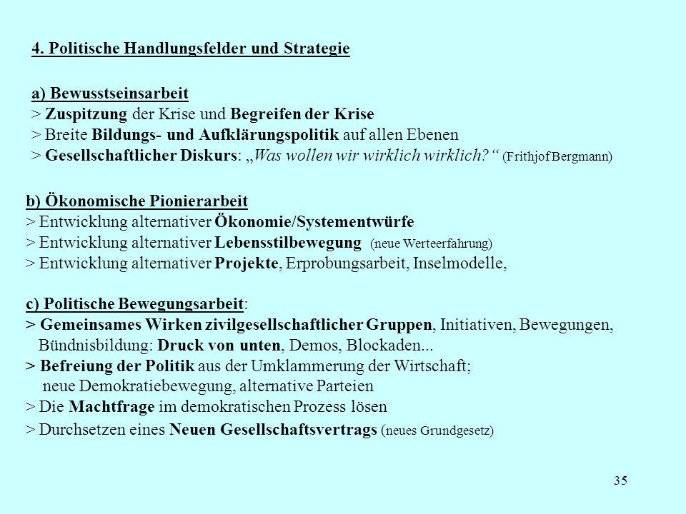 35 4. Politische Handlungsfelder und Strategie c) Politische Bewegungsarbeit: > Gemeinsames Wirken zivilgesellschaftlicher Gruppen, Initiativen, Beweg