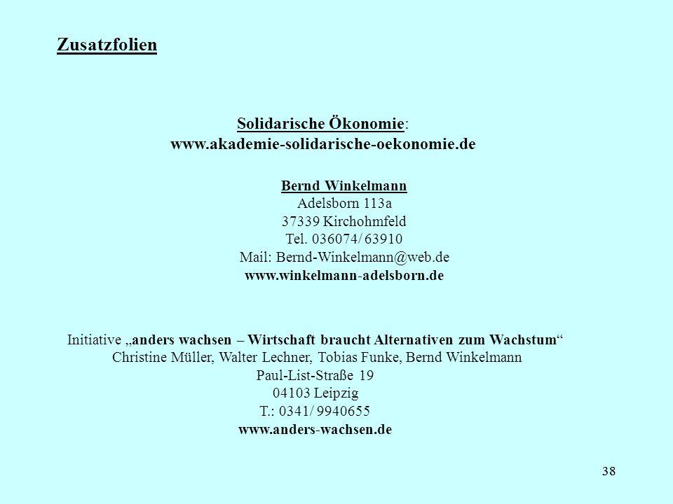 38 Zusatzfolien Solidarische Ökonomie: www.akademie-solidarische-oekonomie.de Bernd Winkelmann Adelsborn 113a 37339 Kirchohmfeld Tel. 036074/ 63910 Ma