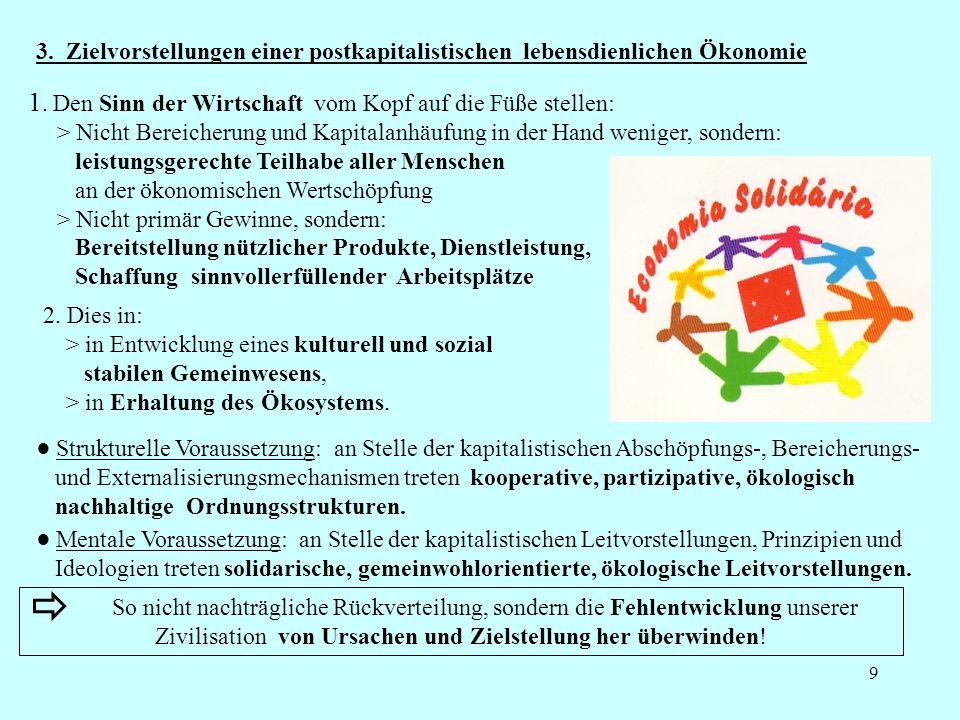 9 3. Zielvorstellungen einer postkapitalistischen lebensdienlichen Ökonomie Strukturelle Voraussetzung: an Stelle der kapitalistischen Abschöpfungs-,