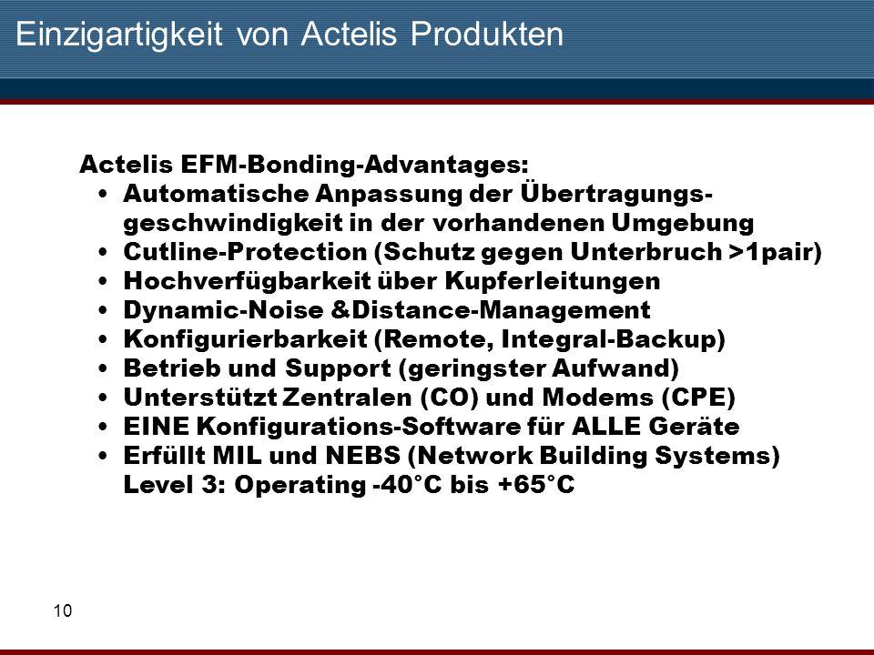10 Einzigartigkeit von Actelis Produkten Actelis EFM-Bonding-Advantages: Automatische Anpassung der Übertragungs- geschwindigkeit in der vorhandenen U