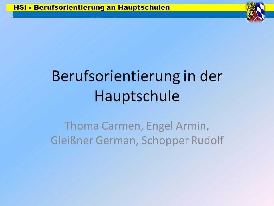 HSI - Berufsorientierung an Hauptschulen Berufsorientierung in der Hauptschule Thoma Carmen, Engel Armin, Gleißner German, Schopper Rudolf