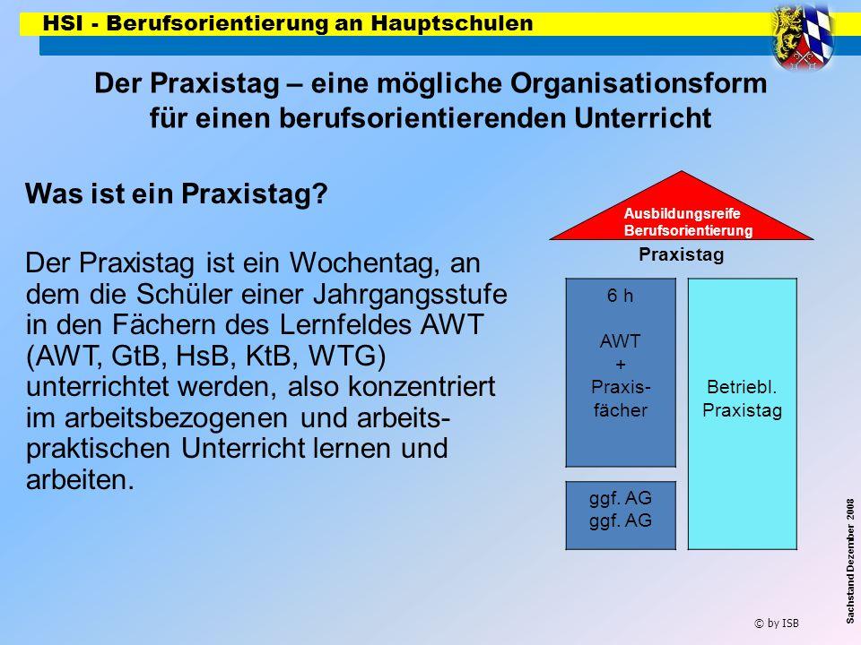 HSI - Berufsorientierung an Hauptschulen © by ISB Sachstand Dezember 2008 6 h AWT + Praxis- fächer Praxistag Ausbildungsreife Berufsorientierung Betri
