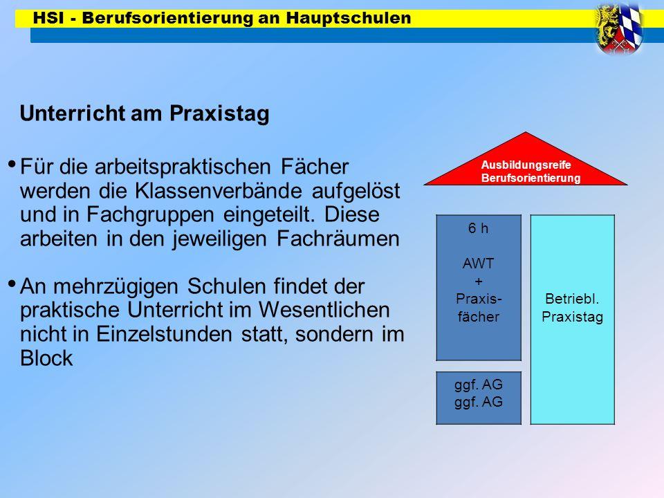 HSI - Berufsorientierung an Hauptschulen 6 h AWT + Praxis- fächer Ausbildungsreife Berufsorientierung Betriebl. Praxistag ggf. AG Unterricht am Praxis