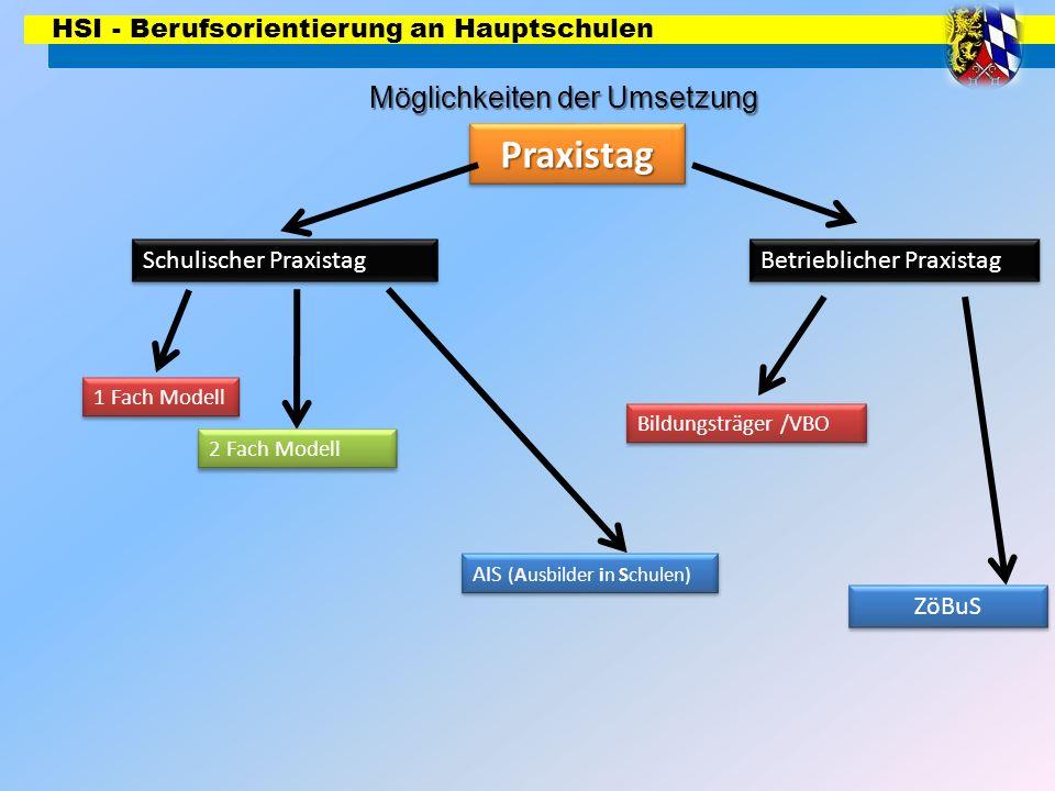 HSI - Berufsorientierung an Hauptschulen Möglichkeiten der Umsetzung PraxistagPraxistag Schulischer Praxistag Betrieblicher Praxistag 1 Fach Modell 2