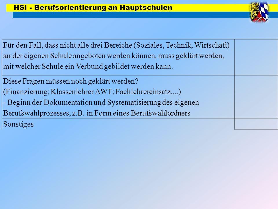 HSI - Berufsorientierung an Hauptschulen Für den Fall, dass nicht alle drei Bereiche (Soziales, Technik, Wirtschaft) an der eigenen Schule angeboten w