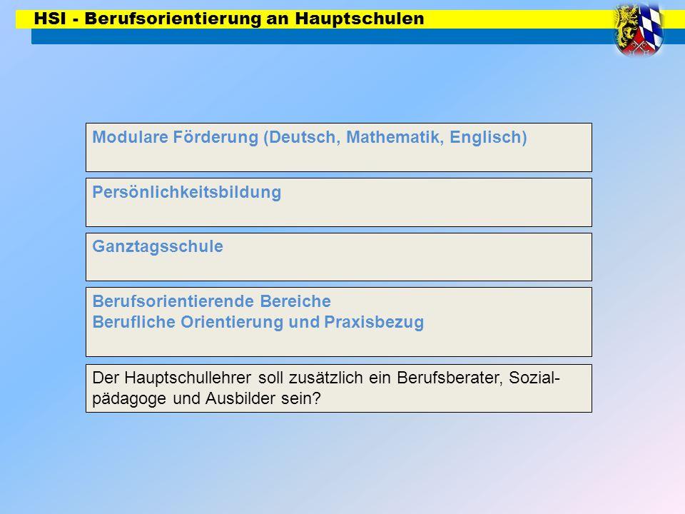 HSI - Berufsorientierung an Hauptschulen Modulare Förderung (Deutsch, Mathematik, Englisch) Persönlichkeitsbildung Ganztagsschule Berufsorientierende