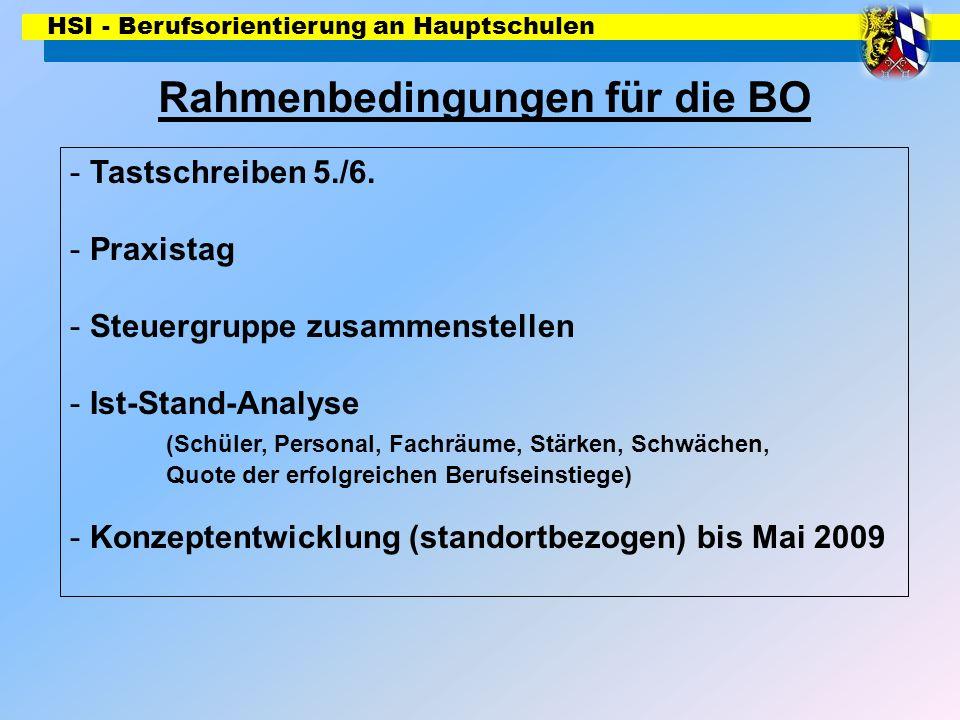 HSI - Berufsorientierung an Hauptschulen Rahmenbedingungen für die BO - Tastschreiben 5./6. - Praxistag - Steuergruppe zusammenstellen - Ist-Stand-Ana